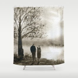 Waterside in Sepia Shower Curtain