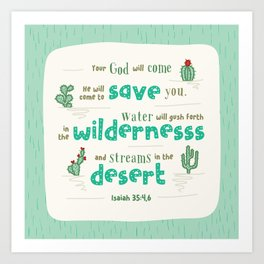"""""""Streams in the Desert"""" Hand-Lettered Bible Verse Art Print"""
