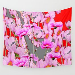 MODERN FUCHSIA  PINK FLOWERS  GREY & RED ABSTRACT ART Wall Tapestry