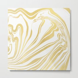 Bronze Copper Gold Rush Marble Ink Swirl Metal Print