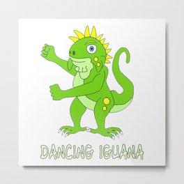 Dancing Green Iguana Metal Print