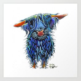 Scottish Highland Cow ' THoMaS ' by Shirley MacArthur Art Print