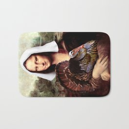 Mona Lisa Thanksgiving Pilgrim Bath Mat