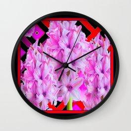 WESTERN BLACK-RED  PURPLISH-PINK ROSES & HYACINTHS Wall Clock