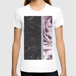 Light Purple Flower Meets Gray Black Marble #6 #decor #art #society6 T-shirt