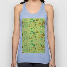 Cat in the garden - Pattern Unisex Tank Top
