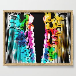 Urban light and LACMA, USA with colorful painting abstract in blue pink green red yellow Serving Tray