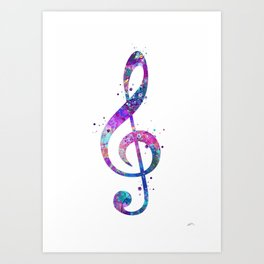 Treble Clef Sign Watercolor Print Blue Purple Wall Art Poster Music Poster Art Print
