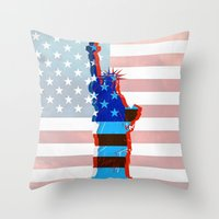 patriots Throw Pillows featuring statue of liberty / USA by Marta Olga Klara