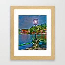 Lantern at the Lake Schliersee Framed Art Print