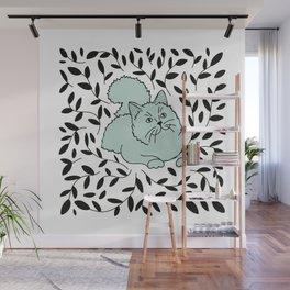 Teal Laurel Cat Wall Mural