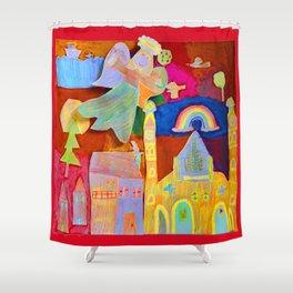 Rainbow Angel Shower Curtain