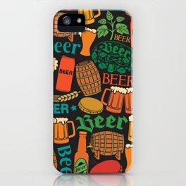 beer icons seamless pattern (hops leaf, wooden barrel, glass, can, mug, bottles) iPhone Case