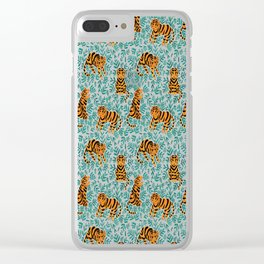 Tigers and Leaves Print Clear iPhone Case