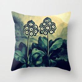 Auriculas Temple of Flora Teal Dusk Throw Pillow
