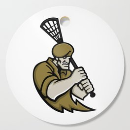 Commando Lacrosse Mascot Cutting Board