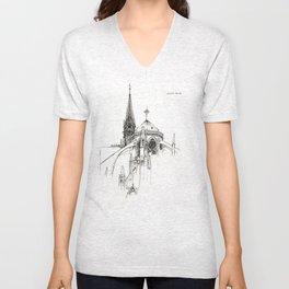 Notre Dame Cathedral Sketch Unisex V-Neck