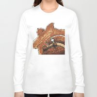 rug Long Sleeve T-shirts featuring Bear rug  by Felicity Du