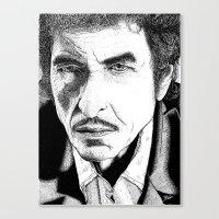 bob dylan Canvas Prints featuring Bob Dylan by Jocke Hegsund