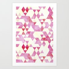 Abstract Pink Triangles, Watercolor Pattern Art Print
