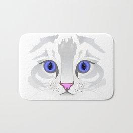 Cute white tabby cat face close up illustration Bath Mat