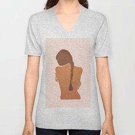 Minimal Female Figure Unisex V-Neck