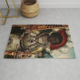 African Masterpiece 'Maurice, Commander of Roman Legion 280 A.D.' Portrait Painting Rug