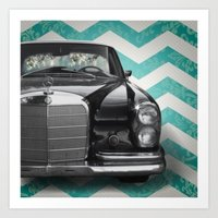 mercedes Art Prints featuring Chevron Mercedes by Habit {F}