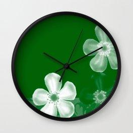 Retro 70s Flowers Green Wall Clock