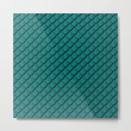 Elegant Teal Dragon Scale Metal Print