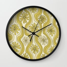 retro flower power wallpaper wiggles // art by surfy birdy Wall Clock