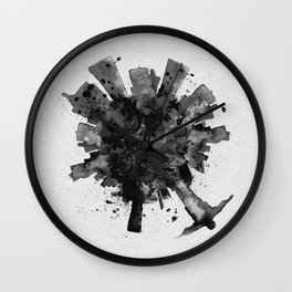 Rio de Janeiro, Brazil Black and White Skyround / Skyline Watercolor Painting Wall Clock