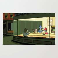 regular show Area & Throw Rugs featuring regular show nighthawks by Dave Collinson