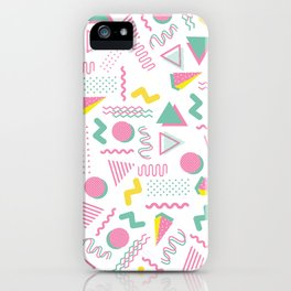 Abstract retro pink teal yellow geometrical 80's pattern iPhone Case