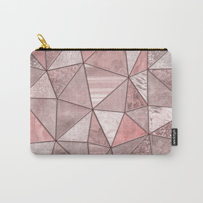 Soft Pink Coral Glamour Gemstone Triangles Carry-All Pouch