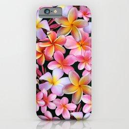 Pink Plumeria Flowers on Dark iPhone Case