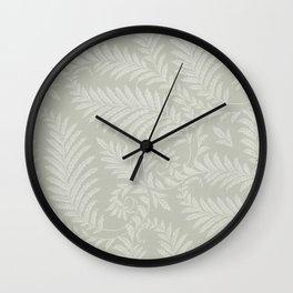 Fancy Scroll Leaves on Pale Green Background Wall Clock