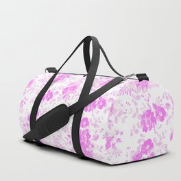 Modern hand painted blush pink white watercolor floral pattern Duffle Bag