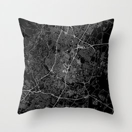 Austin Black Map Throw Pillow