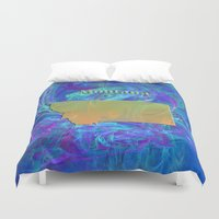 montana Duvet Covers featuring Montana Map by Roger Wedegis