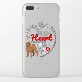 The Road To My Heart Is Paved With Shar Pei Paw Prints Clear iPhone Case