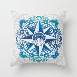 Journey to Moon Mountain | Turquoise Navy Ombré Throw Pillow