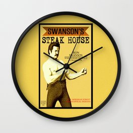 Ron Swanson  |  Steak House Parody |  Parks and Recreation Wall Clock