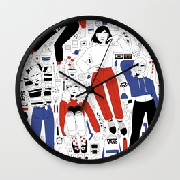 red and blue collection Wall Clock