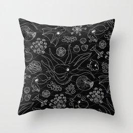 Cephalopods - Black and White Throw Pillow