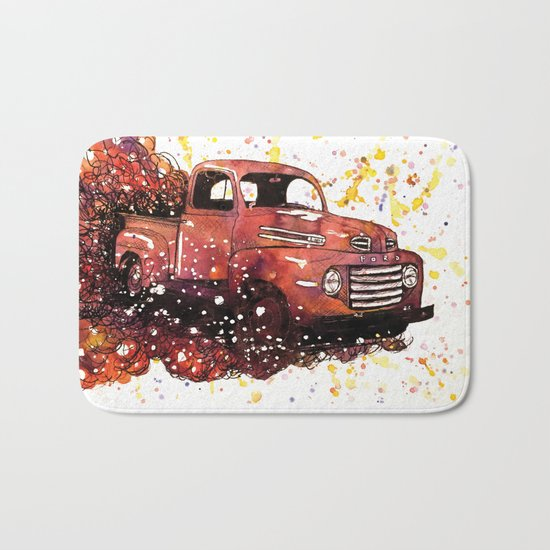 1950 ford truck Bath Mat