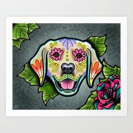Golden Retriever - Day of the Dead Sugar Skull Dog Art Print