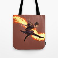 zuko Tote Bags featuring Fight Fire With Fire by Junryou