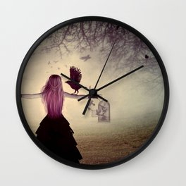 Dark foggy scene with witch woman with crows Wall Clock