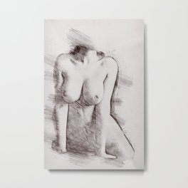 Naked Woman Pencil Drawing Metal Print